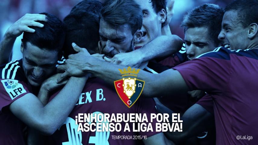 Osasuna regresa a la Liga BBVA por todo lo alto