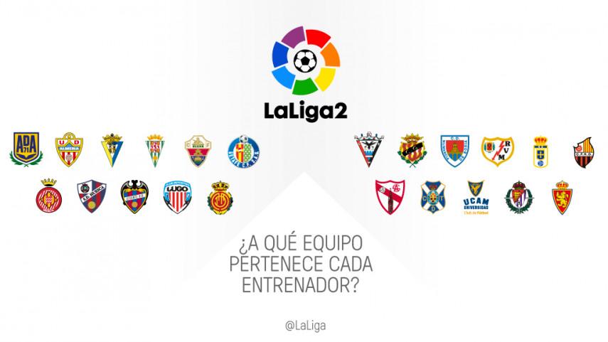 ¿A qué equipo de LaLiga2 pertenece cada entrenador?