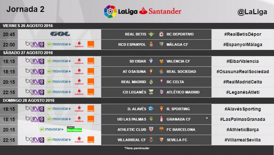 Calendario Liga Segunda.Horarios De La Jornada 2 De Laliga Santander 2016 17 Noticias