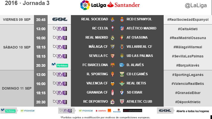 Horarios de la jornada 3 de LaLiga Santander 2016/17