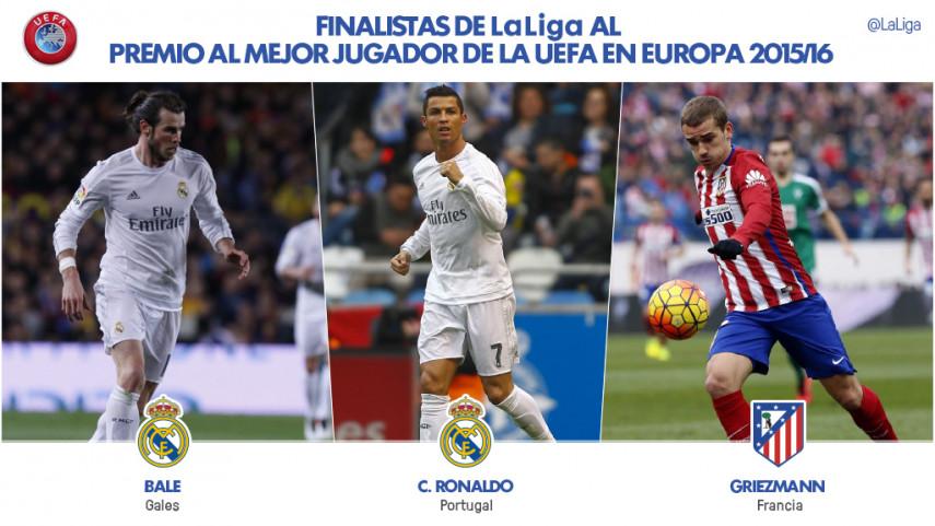 Bale, Cristiano y Griezmann, finalistas a Mejor Jugador de la UEFA en Europa 2015/16