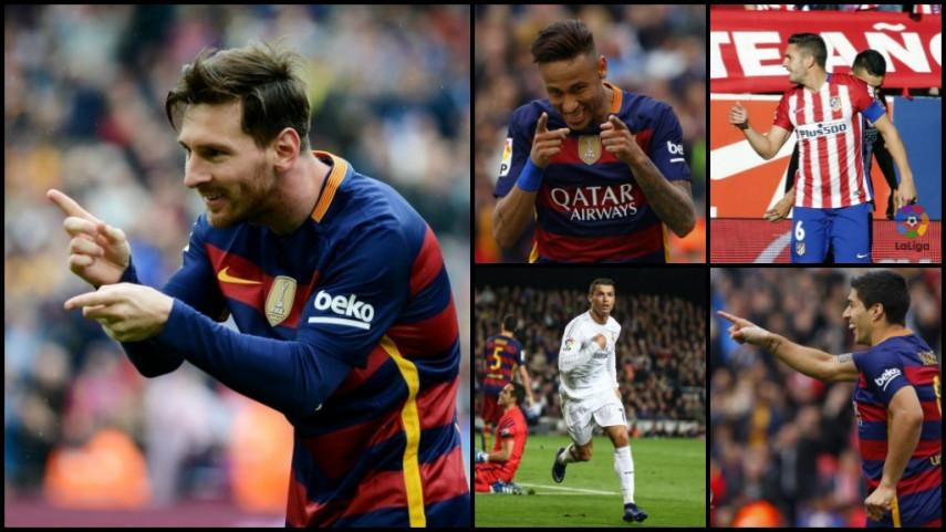 El top 5 de jugadores con mayor puntuación de LaLiga Fantasy MARCA de la temporada 2015/16