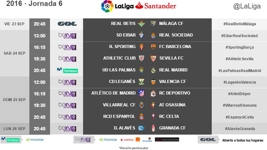 Horarios de la jornada 6 de LaLiga Santander 2016/17