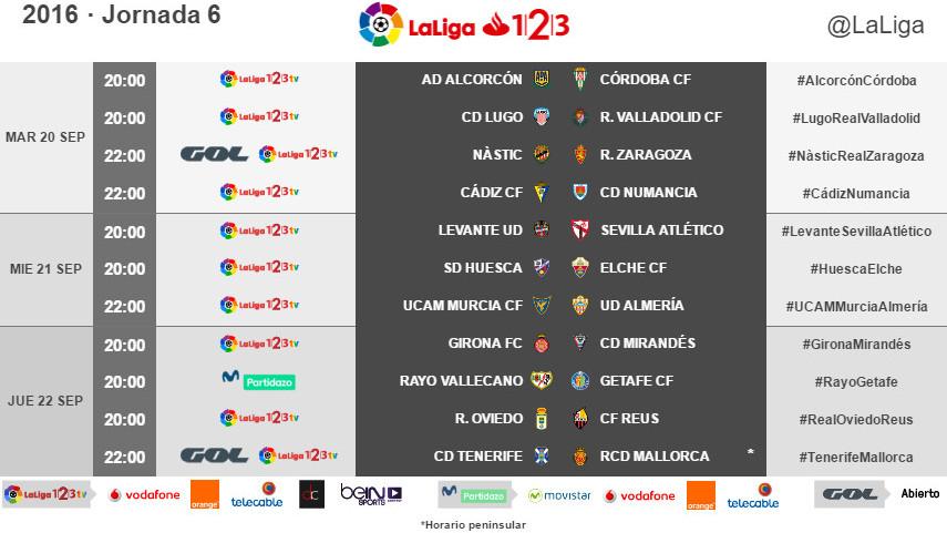 Horarios de la jornada 6 de LaLiga 1l2l3 2016/17