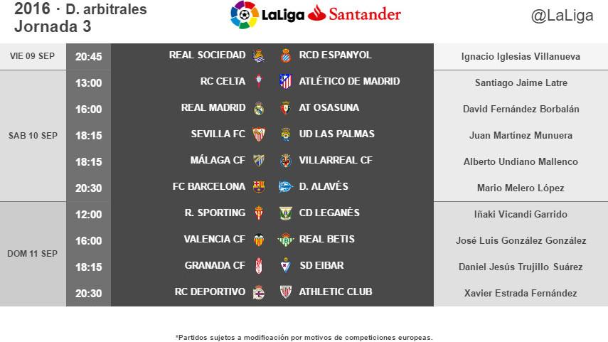 Árbitros para la jornada 3 de LaLiga Santander