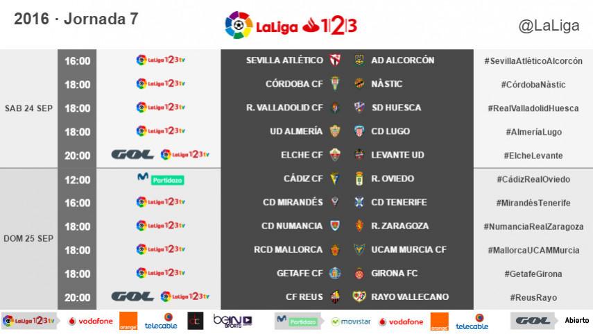 Horarios de la jornada 7 de LaLiga 1l2l3 2016/17