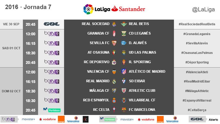 Horarios de la jornada 7 de LaLiga Santander 2016/17