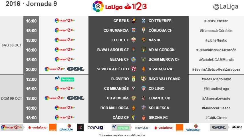 Horarios de la jornada 9 de LaLiga 1l2l3 2016/17