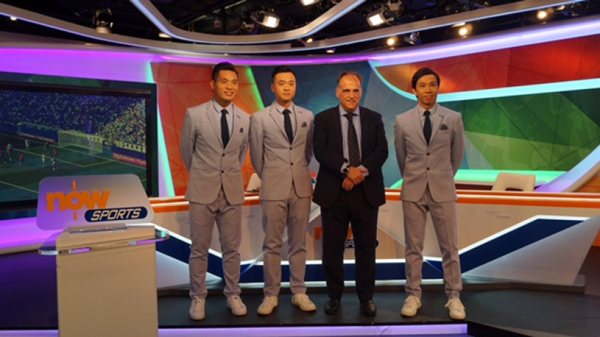 Javier Tebas visitó los estudios de Now TV, operador de LaLiga en Hong Kong