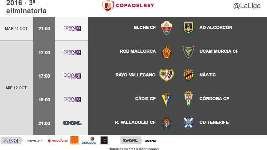 Horarios de la tercera eliminatoria de Copa del Rey