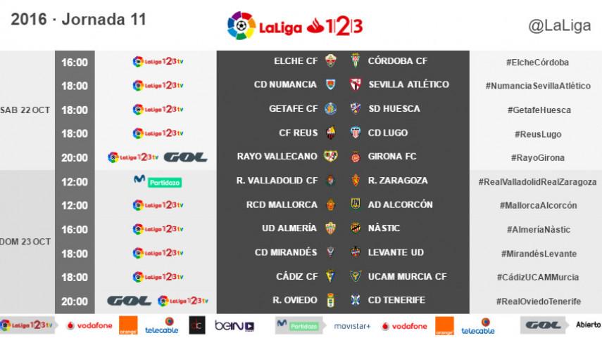Horarios de la jornada 11 de LaLiga 1l2l3 2016/17