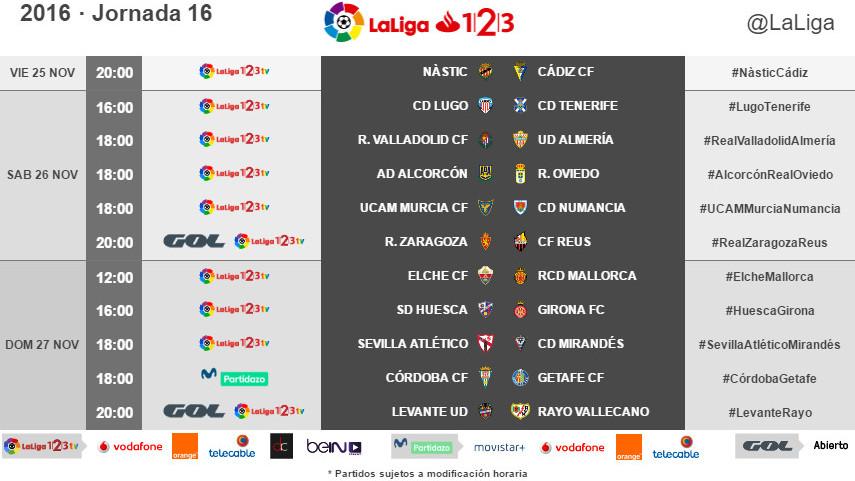 Horarios de la jornada 16 de LaLiga 1l2l3 2016/17