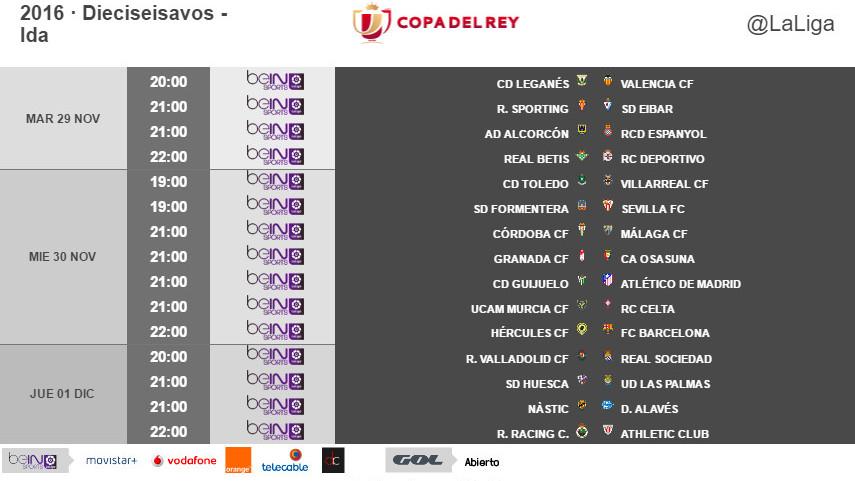 Horarios de la ida de dieciseisavos de final de la Copa del Rey