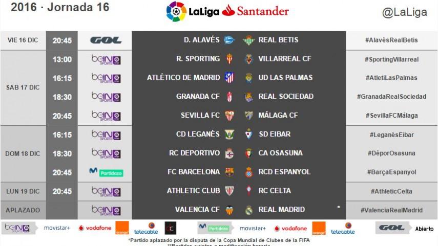 Horarios de la jornada 16 de LaLiga Santander 2016/17