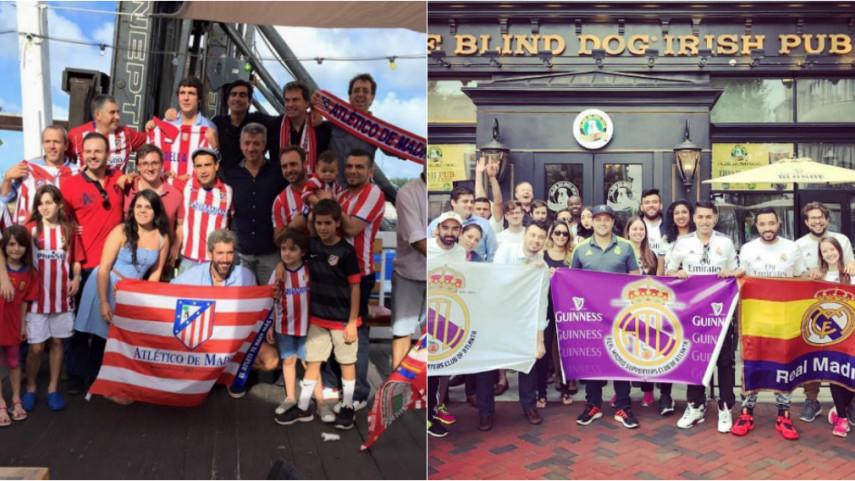 Las peñas del Atlético de Madrid y el Real Madrid en EEUU se preparan para el gran derbi