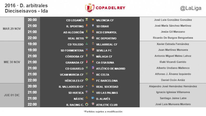 Árbitros para la ida de la Cuarta Eliminatoria de la Copa del Rey