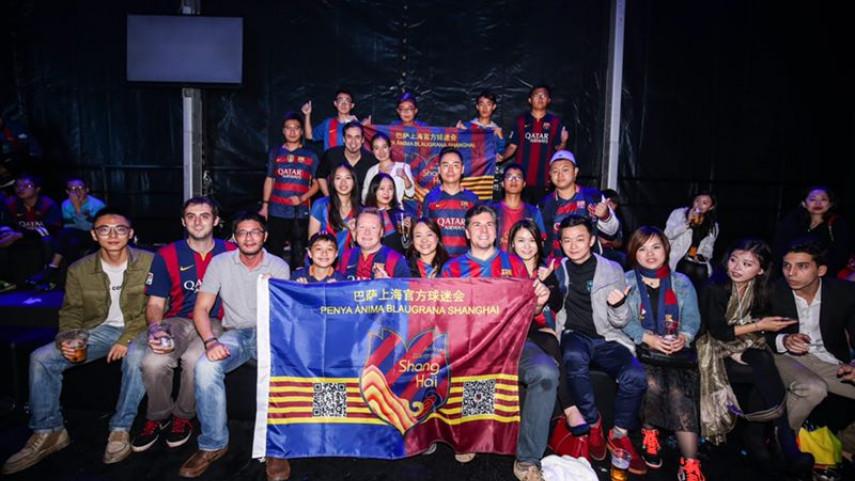 La peña Ànima Blaugrana tiñe Shanghái de azulgrana