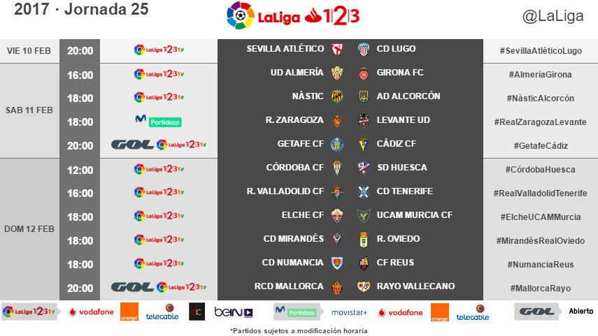 Horarios de la jornada 25 de LaLiga 1l2l3 2016/17