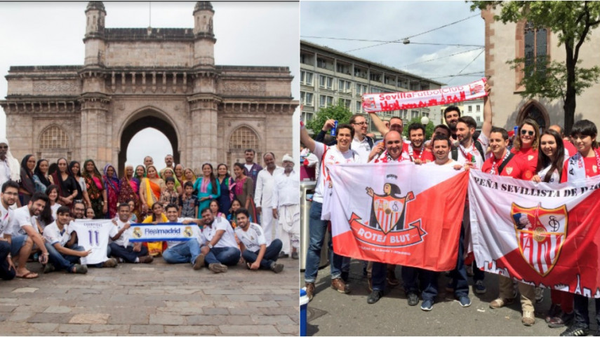 Las peñas de Sevilla y Real Madrid en India y Alemania calientan motores para el gran partido