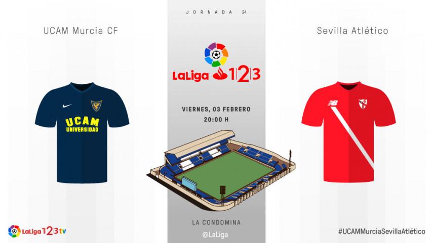 UCAM Murcia- Sevilla Atlético, duelo de rachas opuestas