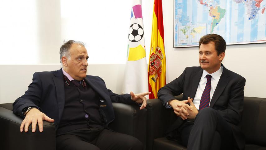 Javier Tebas y Anatoliy Scherba mantuvieron una reunión en la sede de LaLiga