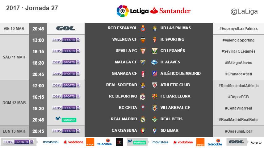 Horarios de la jornada 27 de LaLiga Santander 2016/17