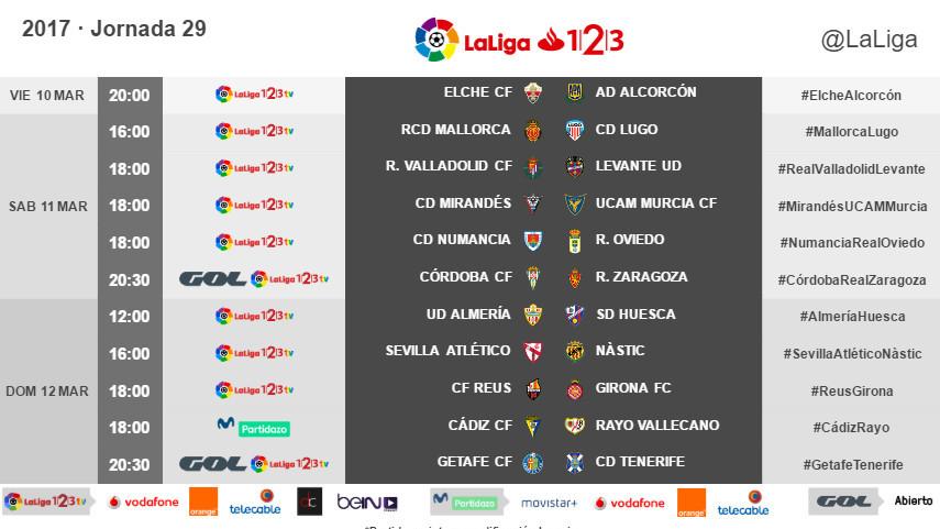 Horarios de la jornada 29 de LaLiga 1l2l3 2016/17
