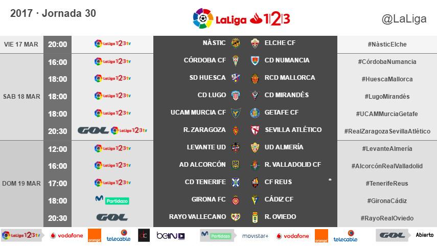 Horarios de la jornada 30 de LaLiga 1l2l3 2016/17