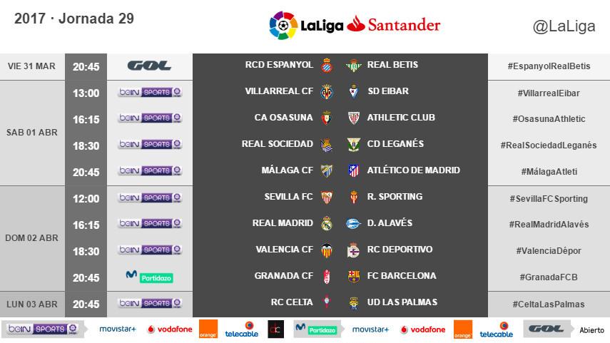 Horarios de la jornada 29 de LaLiga Santander 2016/17