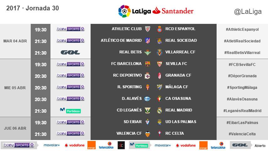 Horarios de la jornada 30 de LaLiga Santander 2016/17