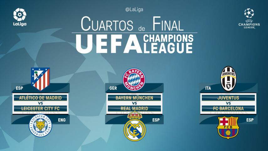 Atlético, Real Madrid y Barcelona ya conocen a sus rivales en cuartos de la UEFA Champions League