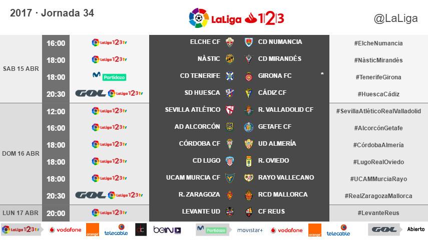 Horarios de la jornada 34 de LaLiga 1l2l3 2016/17