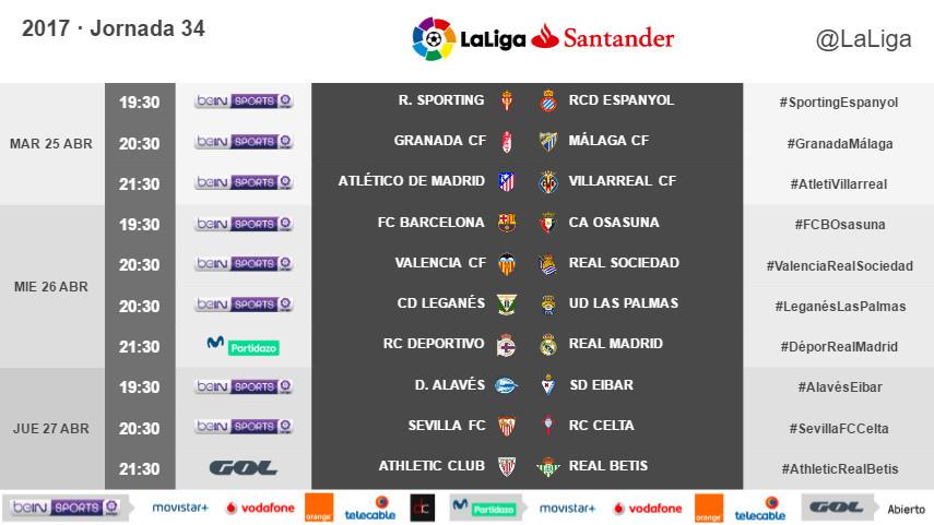 Horarios de la jornada 34 de LaLiga Santander 2016/17