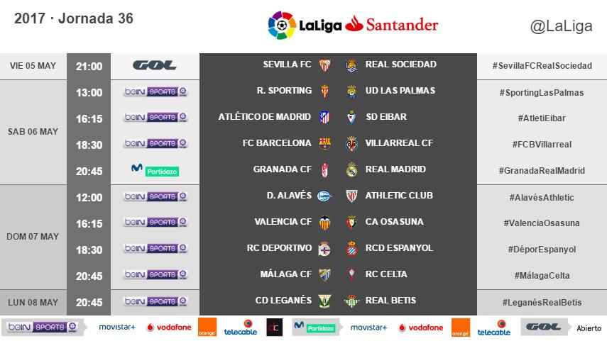 Horarios de la jornada 36 de LaLiga Santander 2016/17