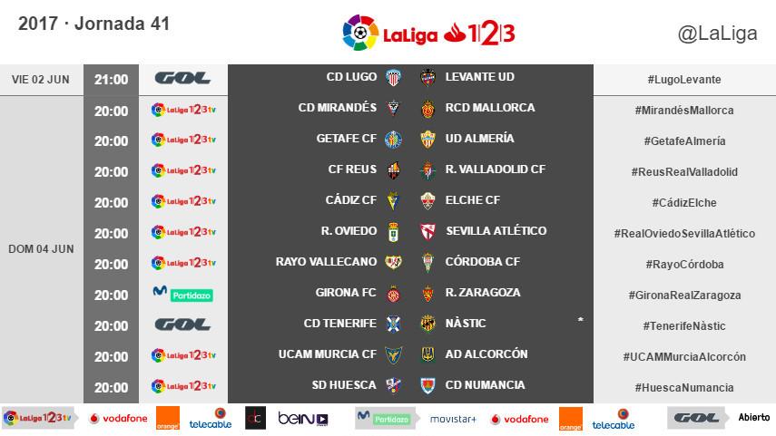 Horarios de la jornada 41 de LaLiga 1l2l3 2016/17