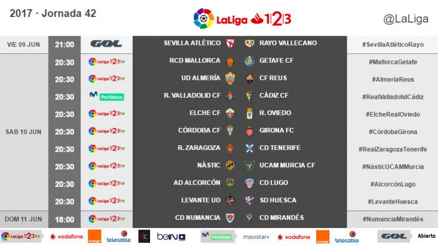 Modificación de los horarios de la jornada 42 de LaLiga 1l2l3