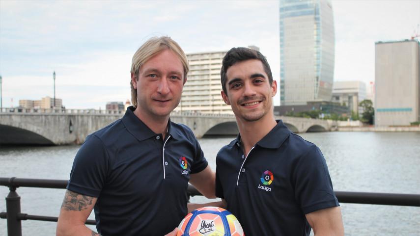 Javier Fernández y Evgeni Plushenko, dos campeones de patinaje apasionados del fútbol