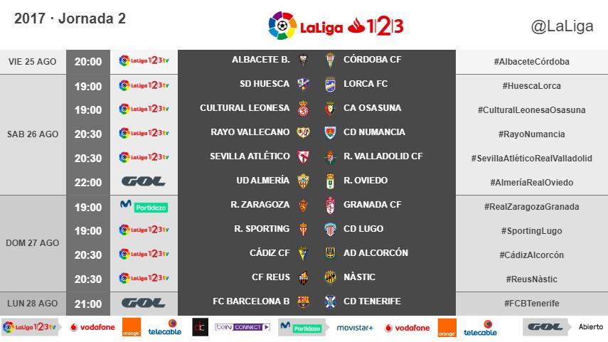 Horarios de la jornada 2 de LaLiga 1l2l3 2017/18