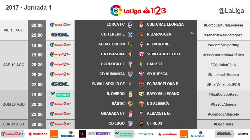 Horarios de la jornada 1 de LaLiga 1l2l3 2017/18