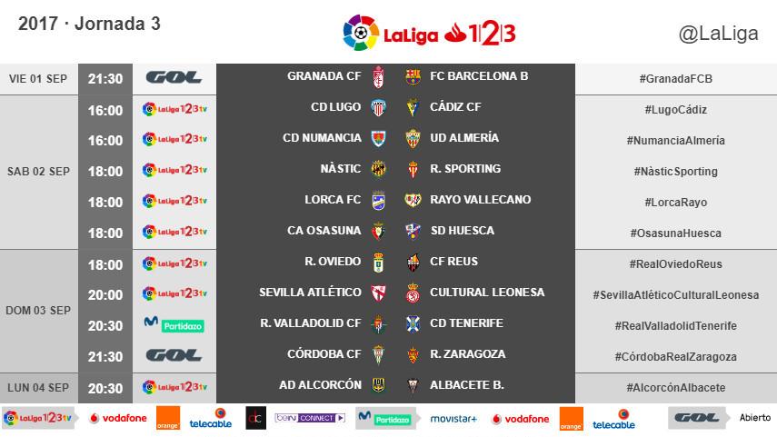Horarios de la jornada 3 de LaLiga 1l2l3 2017/18