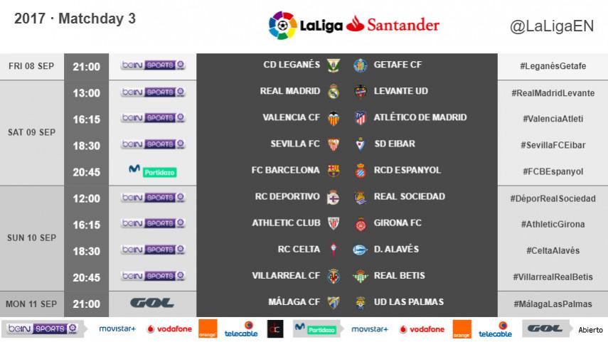 Kickoff times for Matchday 3 in LaLiga Santander 2017/18