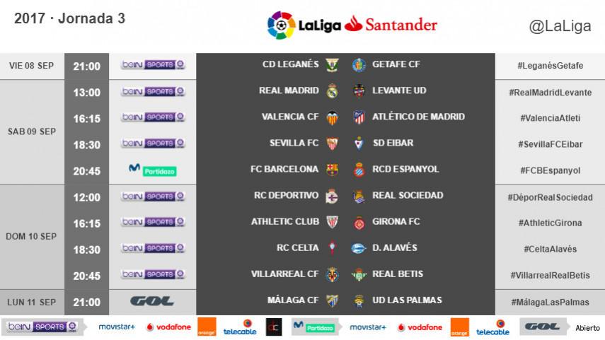 Horarios de la jornada 3 de LaLiga Santander 2017/18