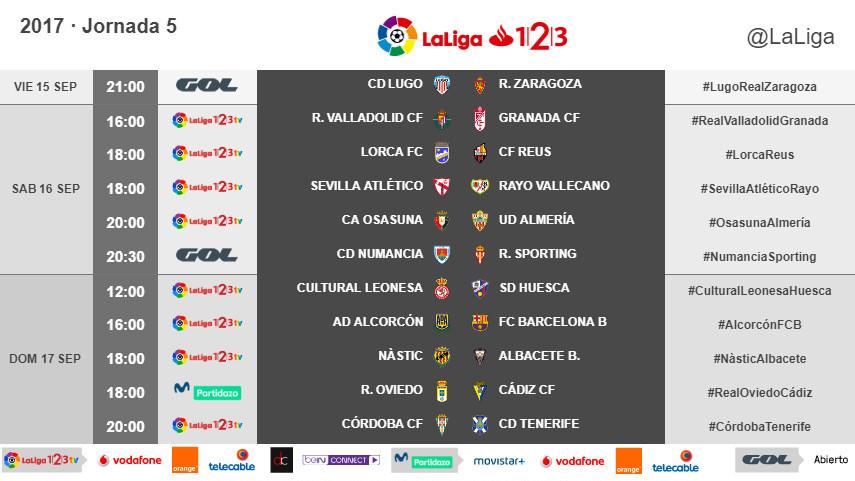 Horarios de la jornada 5 de LaLiga 1l2l3 2017/18