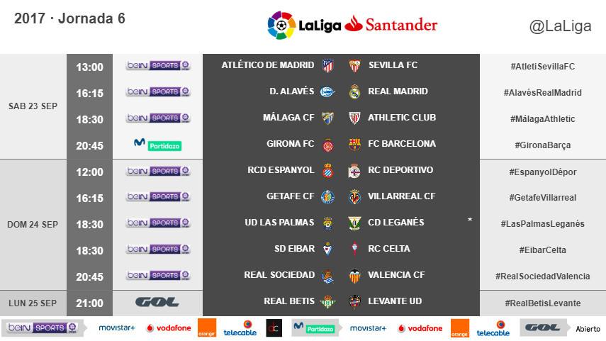 Horarios de la jornada 6 de LaLiga Santander 2017/18