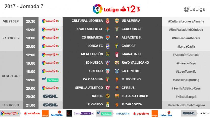 Horarios de la jornada 7 de LaLiga 1l2l3 2017/18