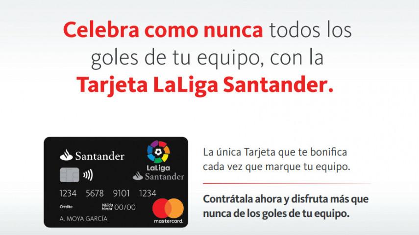 Santander lanza la primera tarjeta que bonifica por cada gol que marcan los equipos de LaLigaSantander y LaLiga 1I2I3
