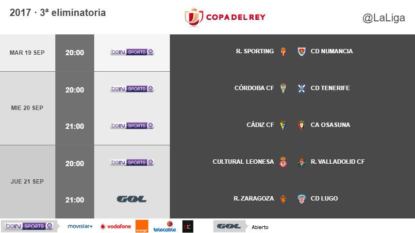 Horarios de la tercera eliminatoria de Copa del Rey 2017/18