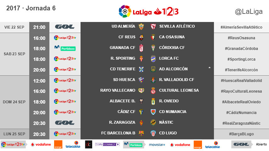 Modificación de horarios de la jornada 6 de LaLiga 1l2l3 2017/18