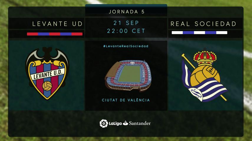 Levante y Real Sociedad miden su buen momento en el Ciutat de València