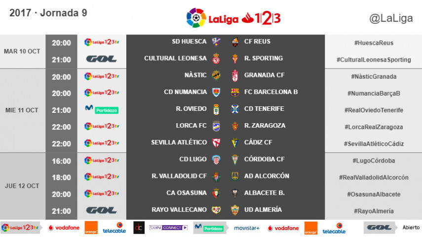 Horarios de la jornada 9 de LaLiga 1l2l3 2017/18